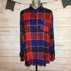 Lucky Brand Plaid Flannel Button Down Tunic Shirt